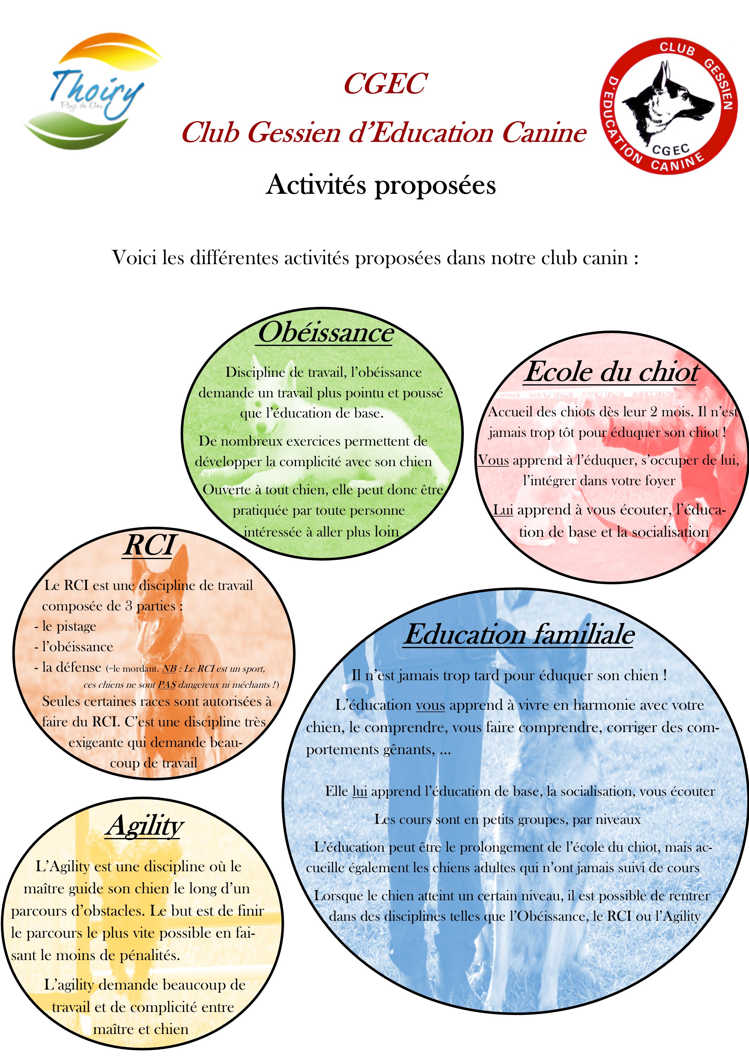 Affiche activités club